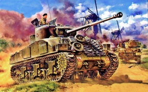 Picture weapon, war, art, painting, tank, ww2, Sherman Firefly