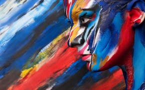 Picture girl, face, paint, profile, body art