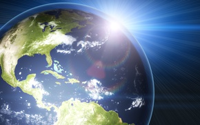Picture space, rays, light, lights, earth, planet