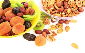 Wallpaper nuts, fruit, nuts, kiwi, prunes, dried apricots, dried fruits