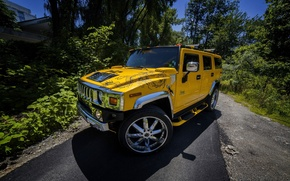 Wallpaper Hammer, Vilner, background, drives, the front, yellow, Hummer