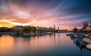 Picture sunset, bridge, the city, river, boats, the evening, Switzerland, Switzerland, Zurich, Zurich, Switzerland, Zurich