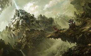 Picture girl, mountains, stones, sword, warrior, art, travelers, World of Legend