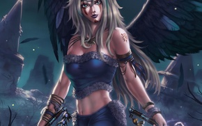 Picture look, girl, weapons, fiction, wings, angel