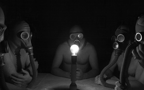 Picture light bulb, twilight, its atmosphere, men in gas masks