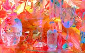 Picture line, glass, color, bottle, dishes, vase