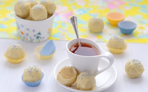 Picture tea, food, candy, Cup, white chocolate, topping