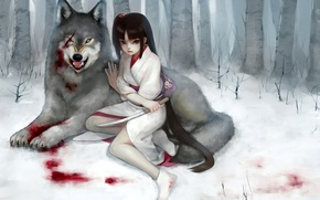 Picture forest, girl, snow, blood, wolf, dagger, kimono, scar, wound, fukawa