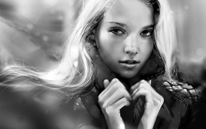 Picture look, art, blonde, drawn girl