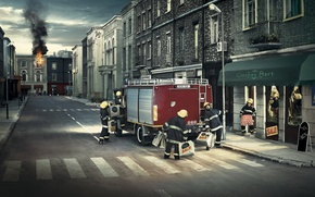 Picture the city, fire, home, sale, firefighters, fire truck