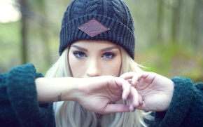 Picture girl, woman, model, tattoo, bokeh, cap, blonde, tattoos, cold, female, Amy Crilley, Glory
