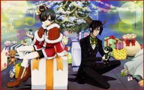 Picture decoration, toys, New Year, gifts, fur, carousel, tree, bags, eye patch, Dark Butler, Kuroshitsuji, Sebastian …