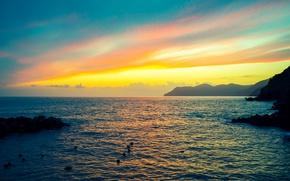Picture sea, the sky, sunset, mountains, stones, rocks, coast, horizon