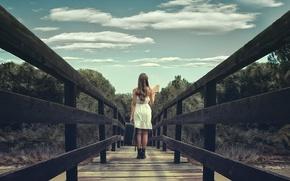 Picture girl, bridge, book, suitcase