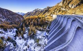 Picture autumn, snow, trees, mountains, dam, Italy, Trentino-Alto Adige / Südtirol, Canazei