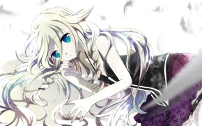 Picture hair, feathers, lies, blue eyes, vocaloid, Vocaloid