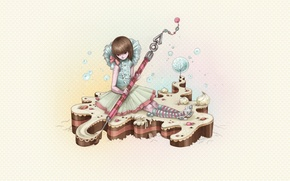 Picture figure, cake, Girl
