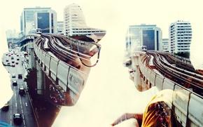 Wallpaper men, cityscape, double exposure