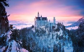 Picture winter, light, snow, Germany, Bayern, Neuschwanstein castle