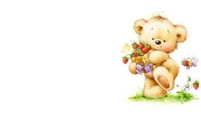 Picture summer, art, bear, bee, children's, berry, Marina Fedotova