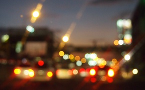 Picture machine, the city, lights, street, the evening, bokeh