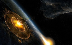 Picture impact, asteroid, blow, Armageddon, planet, disaster