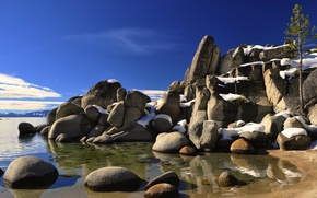 Picture the sky, clouds, snow, lake, stones, tree, spring, USA, CA, Tahoe