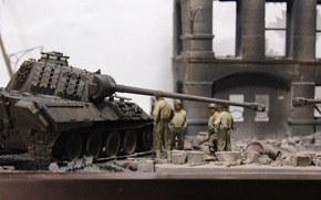 Wallpaper ruins, Panther, model, soldiers, tank, heavy, toy