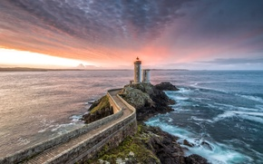 Picture sea, lighthouse, Bretagne, Little Kitty, France