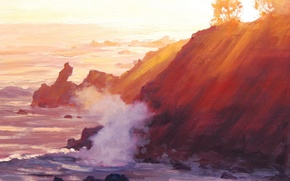 Picture sea, wave, trees, nature, shore, hill, art, the sun's rays, artsaus