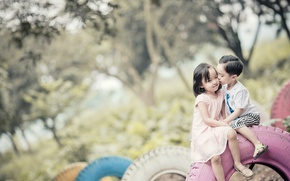 Picture children, background, mood