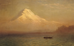 Wallpaper Sunrise on Mount Tacoma, picture, lake, boat, Albert Bierstadt, landscape