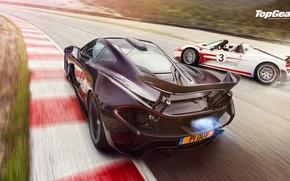 Picture McLaren, Porsche, Top Gear, Speed, Sun, 918, Supercars, Spider, Spoilers, Rear, Drifting