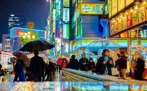 Picture flowers, night, lights, people, metro, street, neon, Japan, Tokyo, umbrellas, stores, life, restaurants, rainy