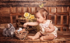 Picture flowers, holiday, basket, toy, Board, the fence, roses, eggs, rabbit, Easter, girl, child
