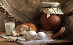 Wallpaper eggs, milk, bread