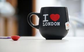 Picture red, background, Wallpaper, mood, heart, spoon, mug, Cup, black, wallpapers, bag, Serdechko, tea, i love …