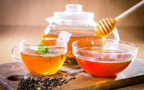 Picture tea, kettle, honey, spoon, Cup, Board, honey, welding, bowl