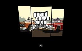 Picture machine, logo, shooting, GTA, Rockstar, Grand Theft Auto, San Andreas, gang Grove Street, gang, the …