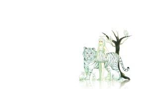 Picture animals, minimalism, anime, art, girl