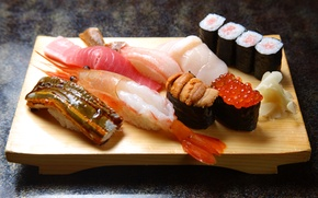 Picture fish, shrimp, Board, figure, sushi, rolls, seafood, red caviar