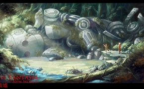 Picture forest, stream, people, thickets, robot, ruins, Pixiv fantasia