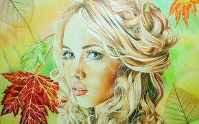 Wallpaper look, blonde, painting, face, green eyes, leaves, girl, curls, lips, Christina Papagianni, autumn