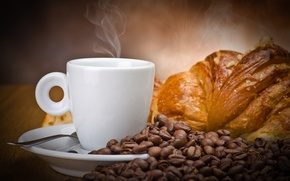 Picture coffee, grain, Cup, white, drink, muffin, croissant