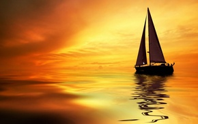 Picture water, sunset, people, sail