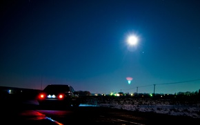 Picture night, the moon, star, stars, mercedes, the full moon, mercedes-benz, Mercedes, gelding, Mercedes, benz, 190, …
