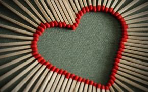 Picture macro, love, creative, mood, romance, heart, Love, matches, red, red, heart, heart, macro, love lights