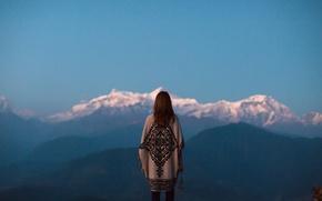 Wallpaper dusk, mountains, twilight, contemplation, girl