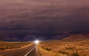 Picture road, mountains, night
