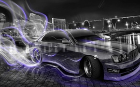 Picture Night, The city, Smoke, Neon, Style, Nissan, Wallpaper, City, Drift, Nissan, Drift, Car, Purple, Photoshop, …